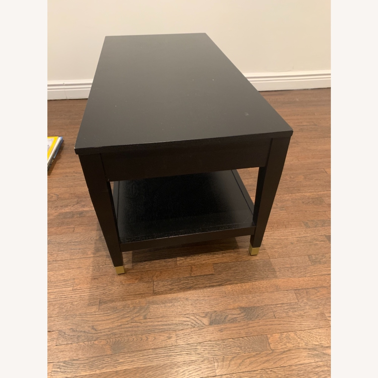Black Coffee Table with Brass Tipped Legs - image-3