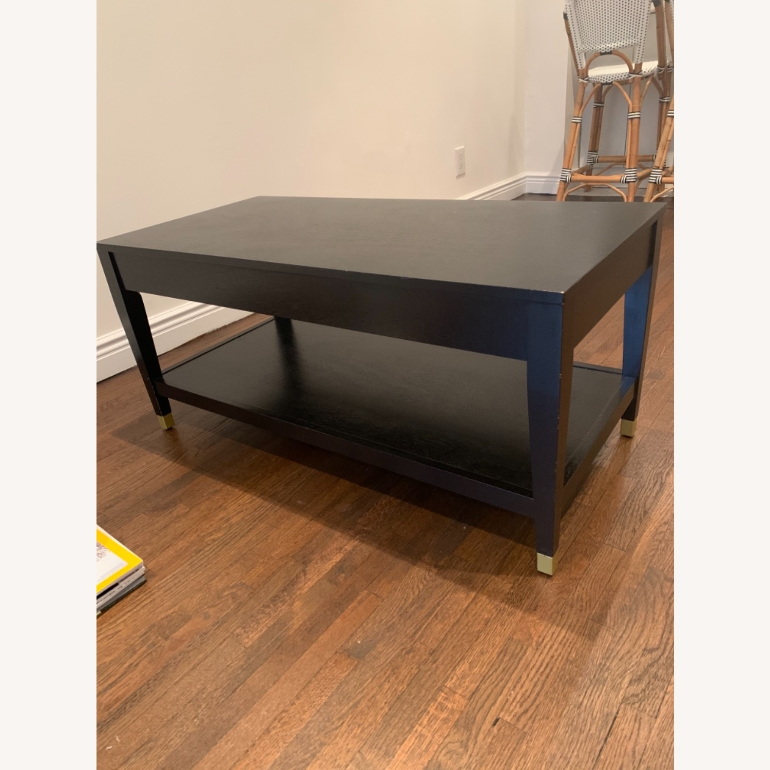 Black Coffee Table with Brass Tipped Legs - image-2
