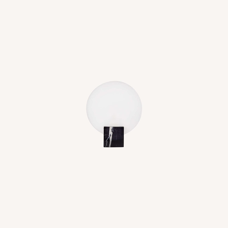 Crate & Barrel Black Marble Desk Lamps - image-0