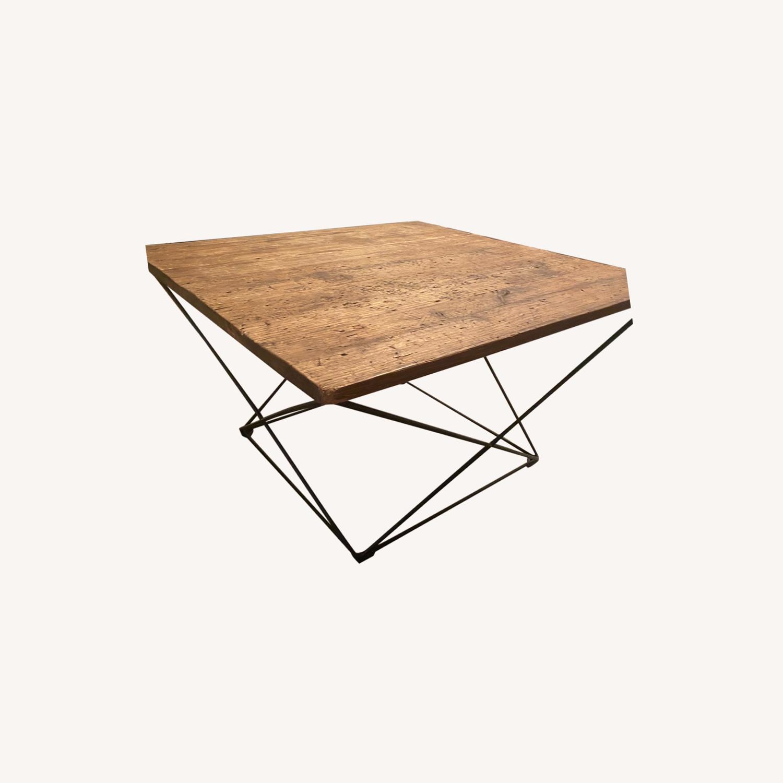 West Elm Industrial Real Wood and Metal Coffee Table - image-0