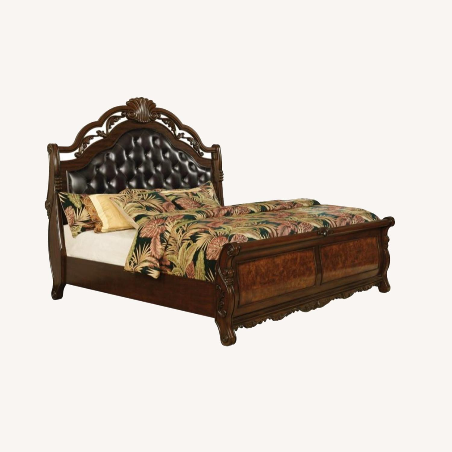 Queen Bed In Dark Brown Leatherette Finish - image-4