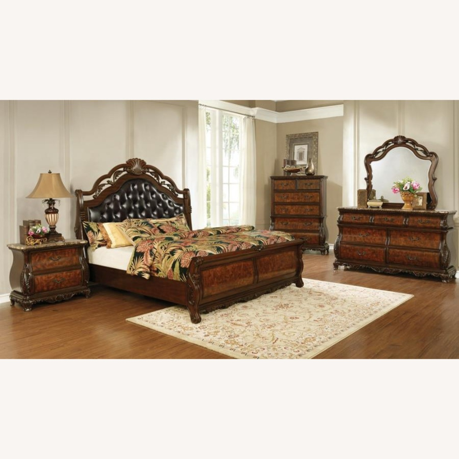 Queen Bed In Dark Brown Leatherette Finish - image-2