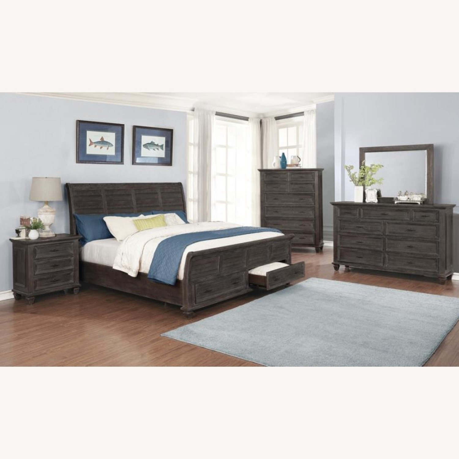 Queen Storage Bed In Weathered Carbon Finish - image-2