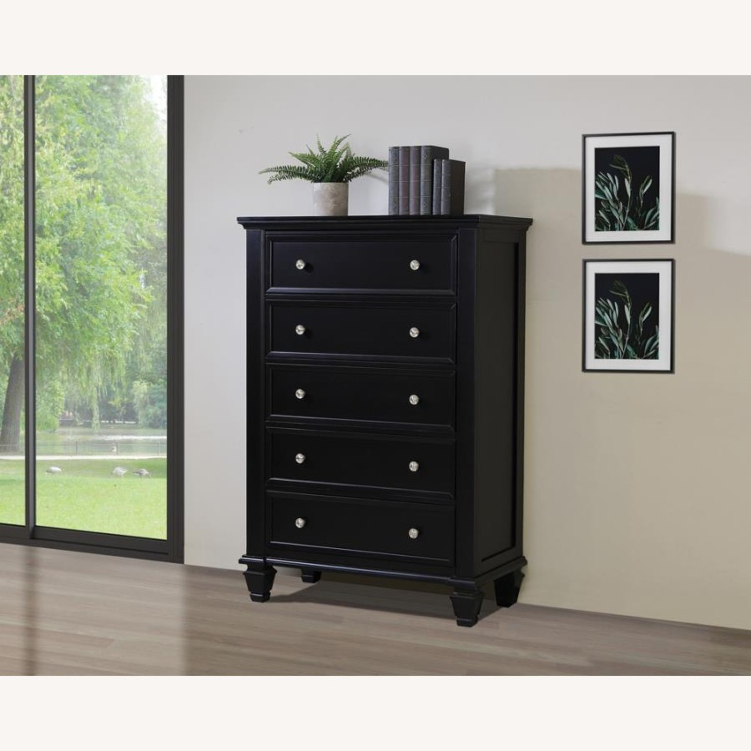 Chest Crafted In Poplar Veneer Black Finish  - image-5