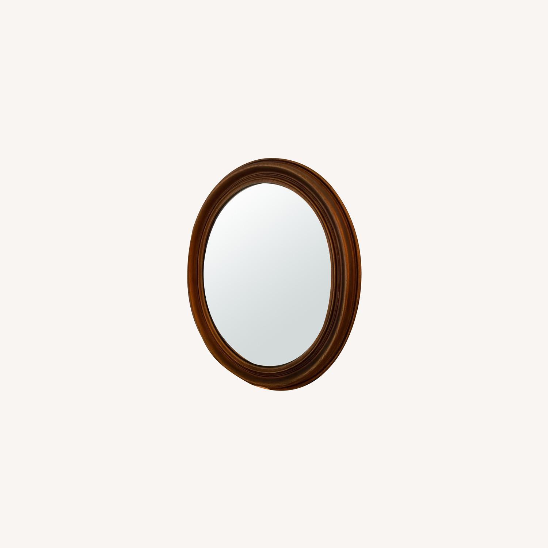 Antique Look Bronze Oval Mirror - image-0