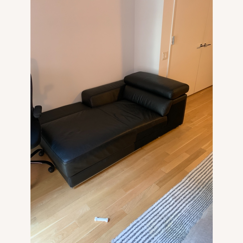 Black Leather Zuri Chaise Lounge - image-2