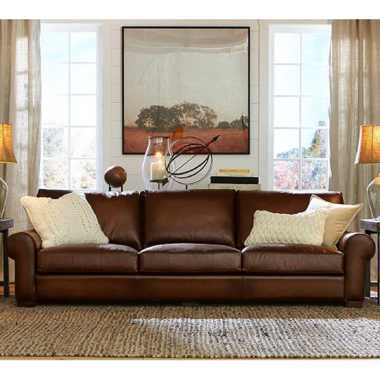 Pottery Barn Quintessential Leather Sleeper Sofa - image-0