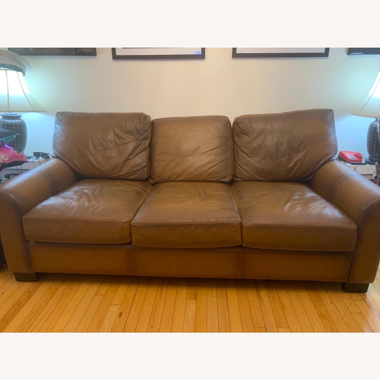 Pottery Barn Quintessential Leather Sleeper Sofa - image-1