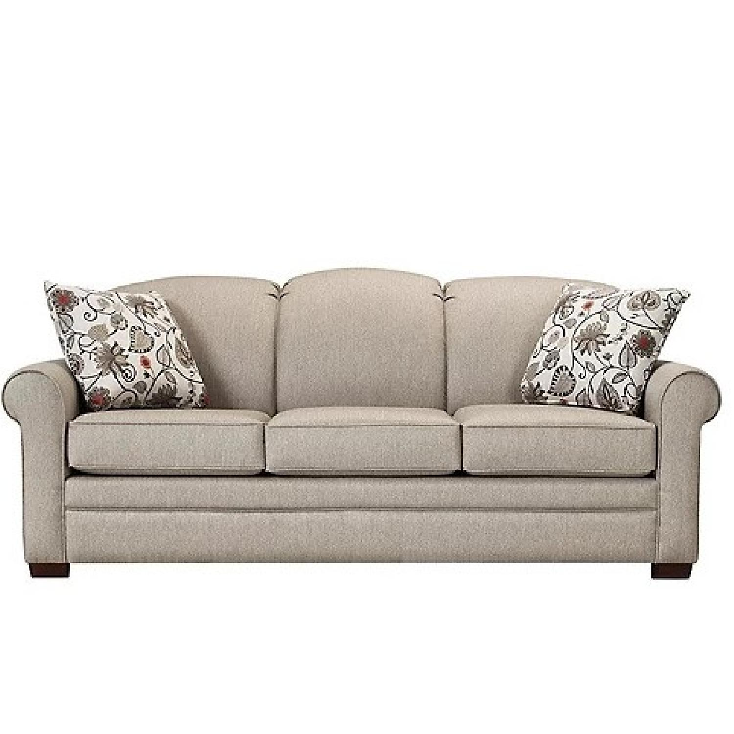 Raymour & Flanigan Green Couch with Reversible Pillows - image-4