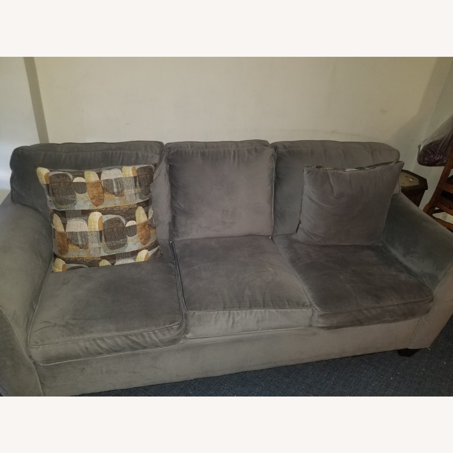 Raymour & Flanigan Green Couch with Reversible Pillows - image-3