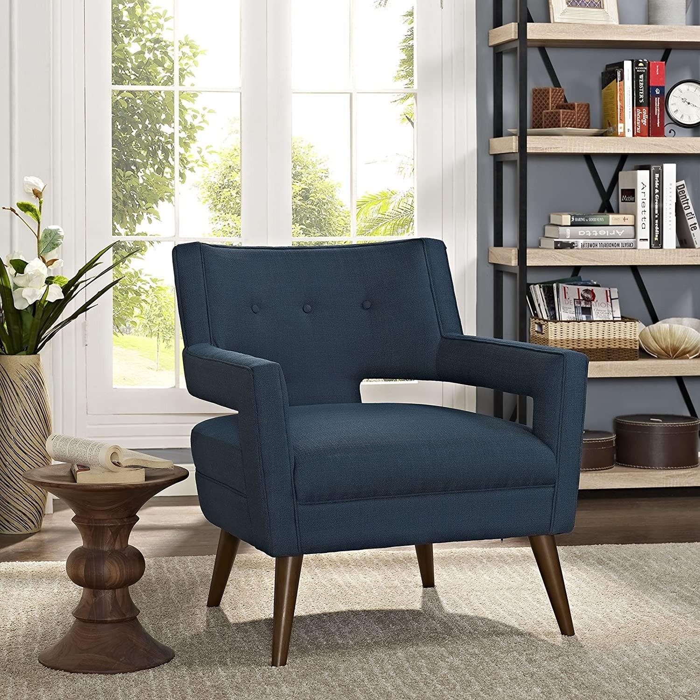 Mid-Century Armchair In Azure Fabric Finish - image-3