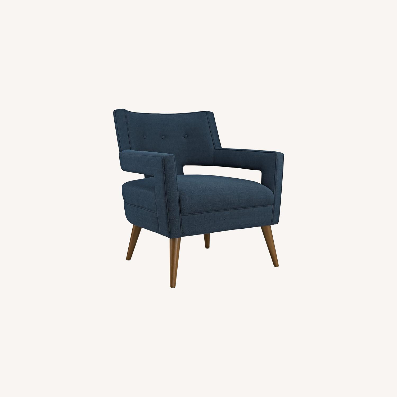 Mid-Century Armchair In Azure Fabric Finish - image-5