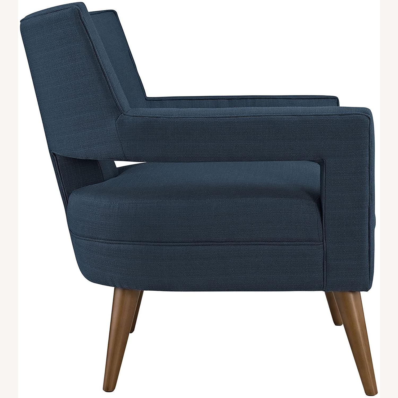 Mid-Century Armchair In Azure Fabric Finish - image-1