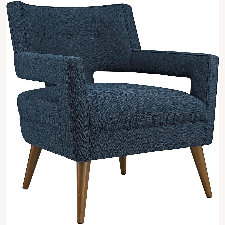Mid-Century Armchair In Azure Fabric Finish - image-0