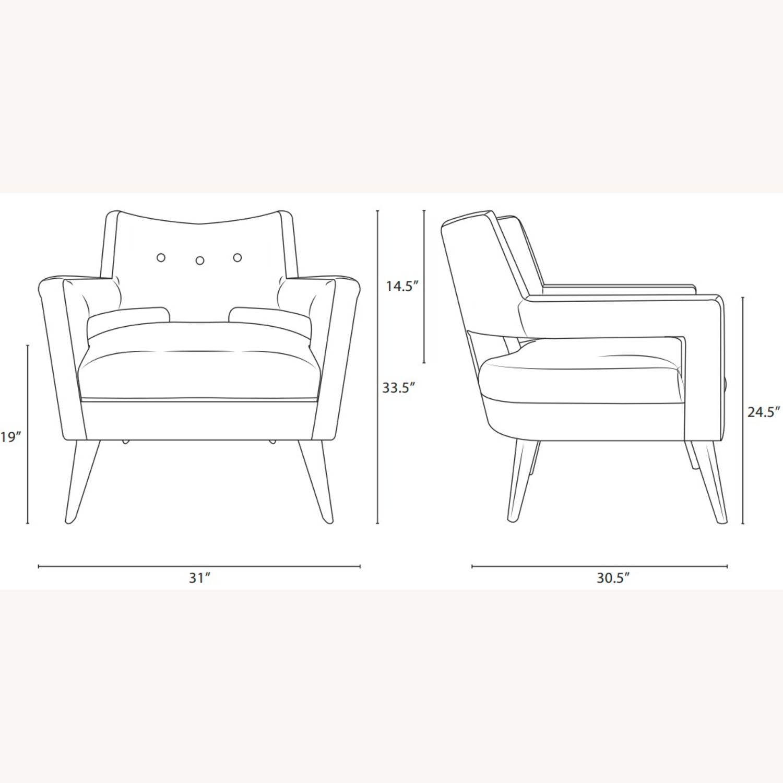 Mid-Century Armchair In Azure Fabric Finish - image-4