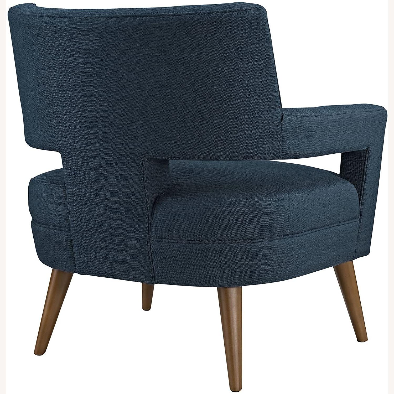 Mid-Century Armchair In Azure Fabric Finish - image-2