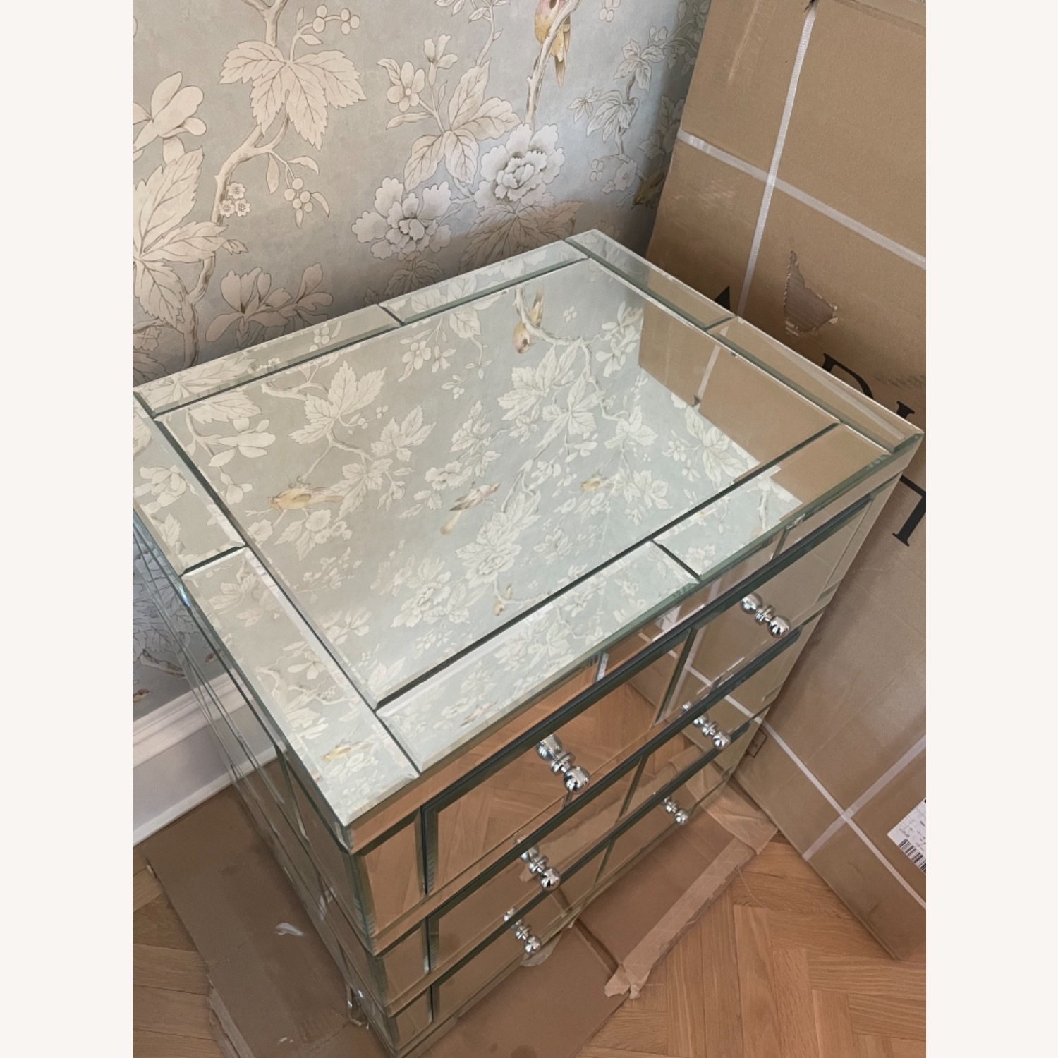 Bungalow 5 Mirrored Wood 3-Drawer Side Table - image-4