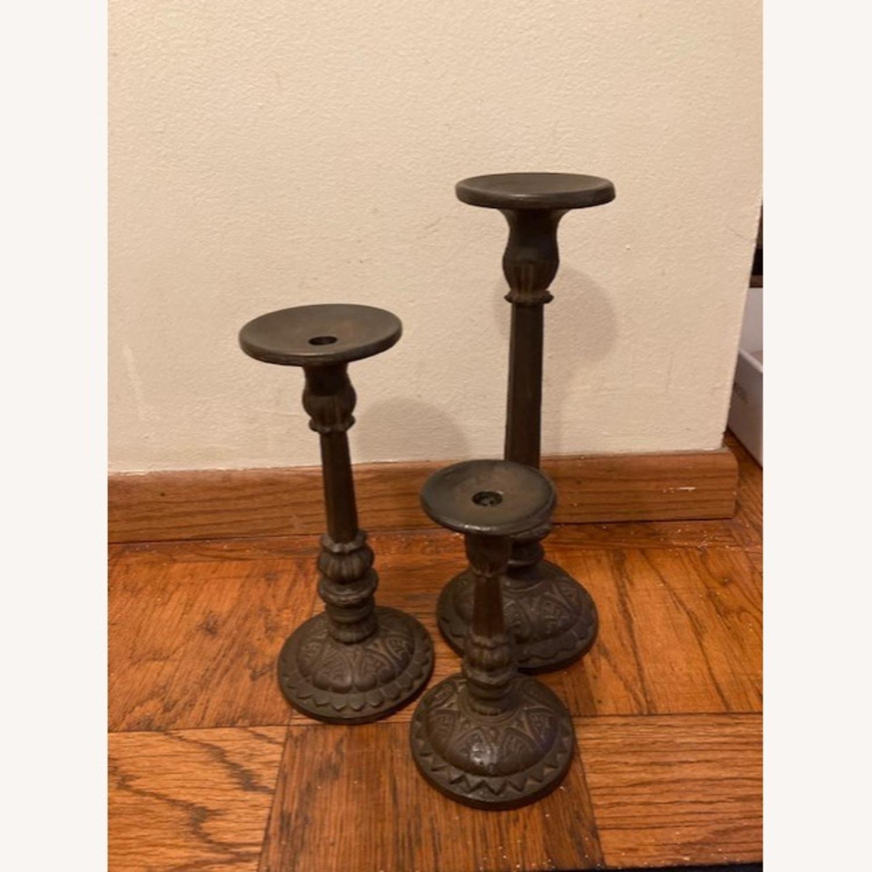 Set of 3 Bronze Pottery Barn candlesticks - image-1