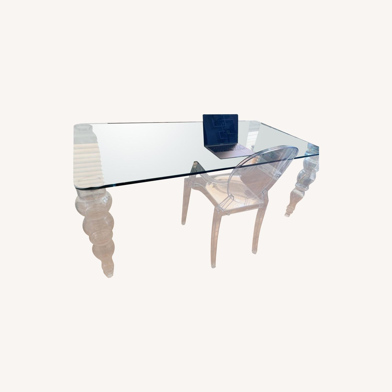 Modern Clear Glass Desk - image-0