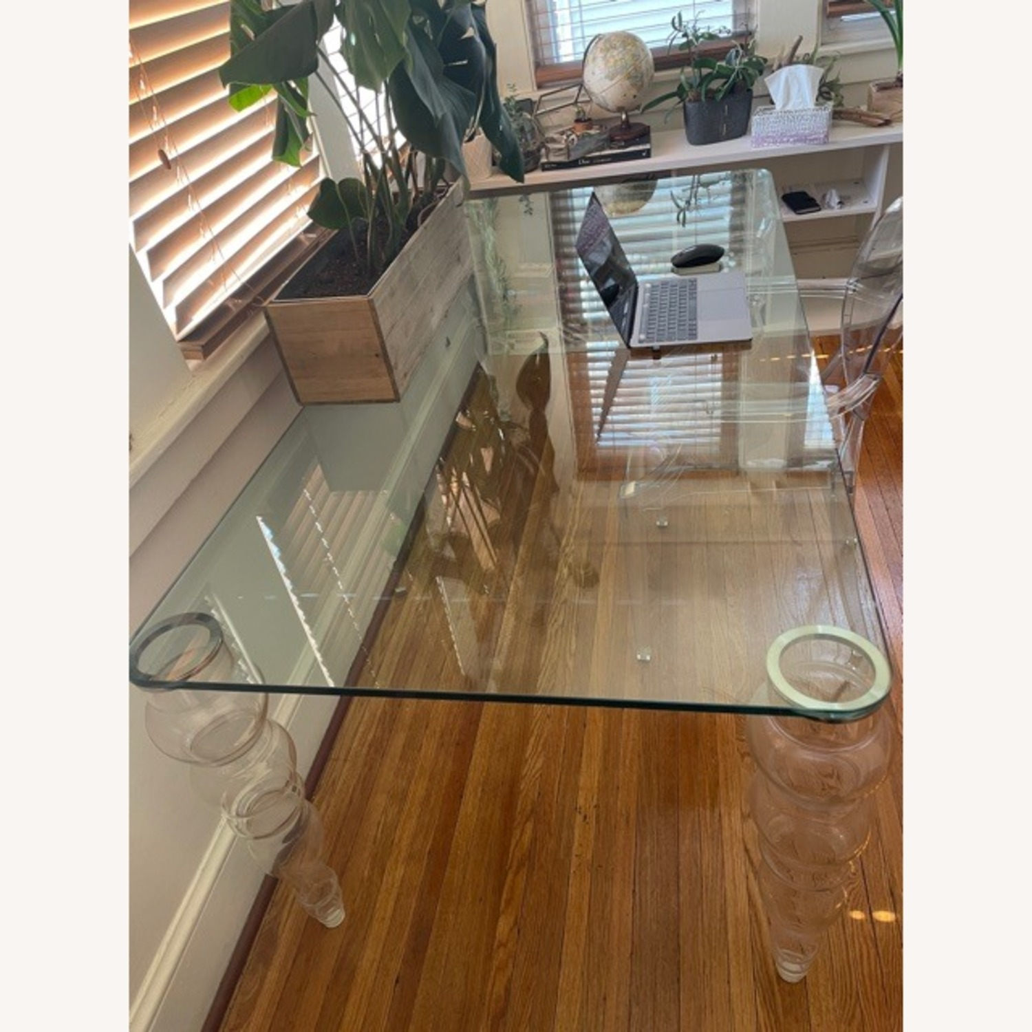Modern Clear Glass Desk - image-7