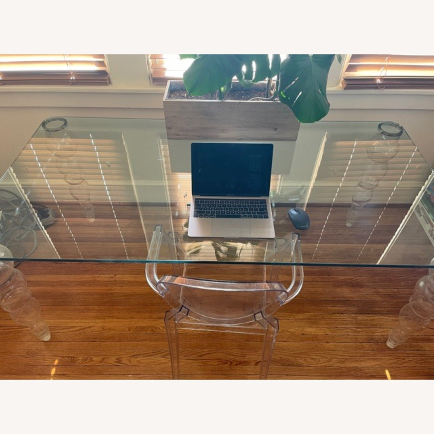 Modern Clear Glass Desk - image-2