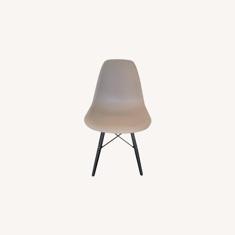 Modern Dining Chair Dark Grey Dark Black Wood Legs - image-0