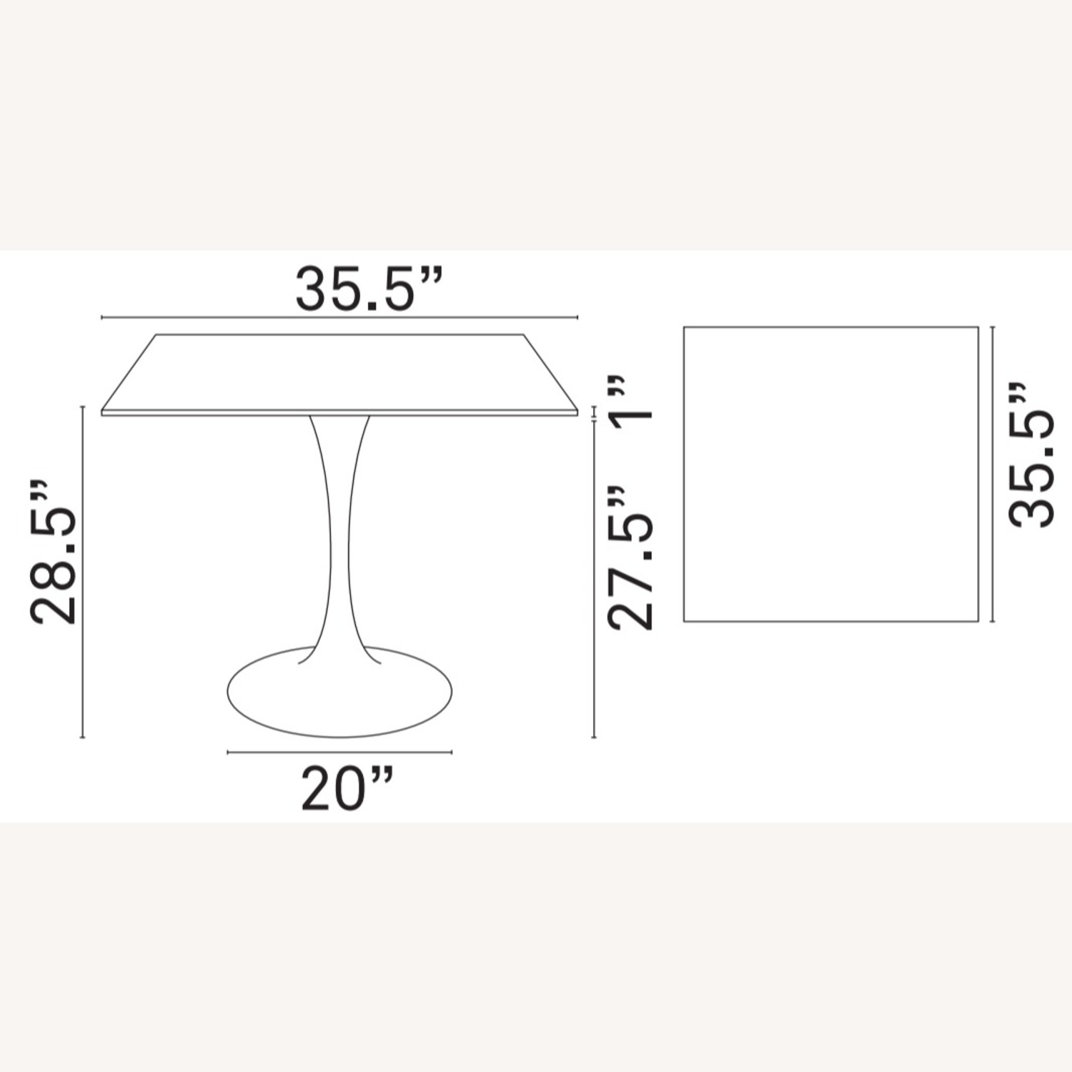 """Modern 36"""" Square Dining Table In White Wood Top - image-4"""