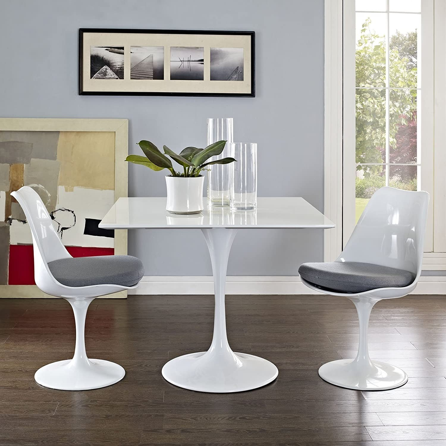 """Modern 36"""" Square Dining Table In White Wood Top - image-3"""