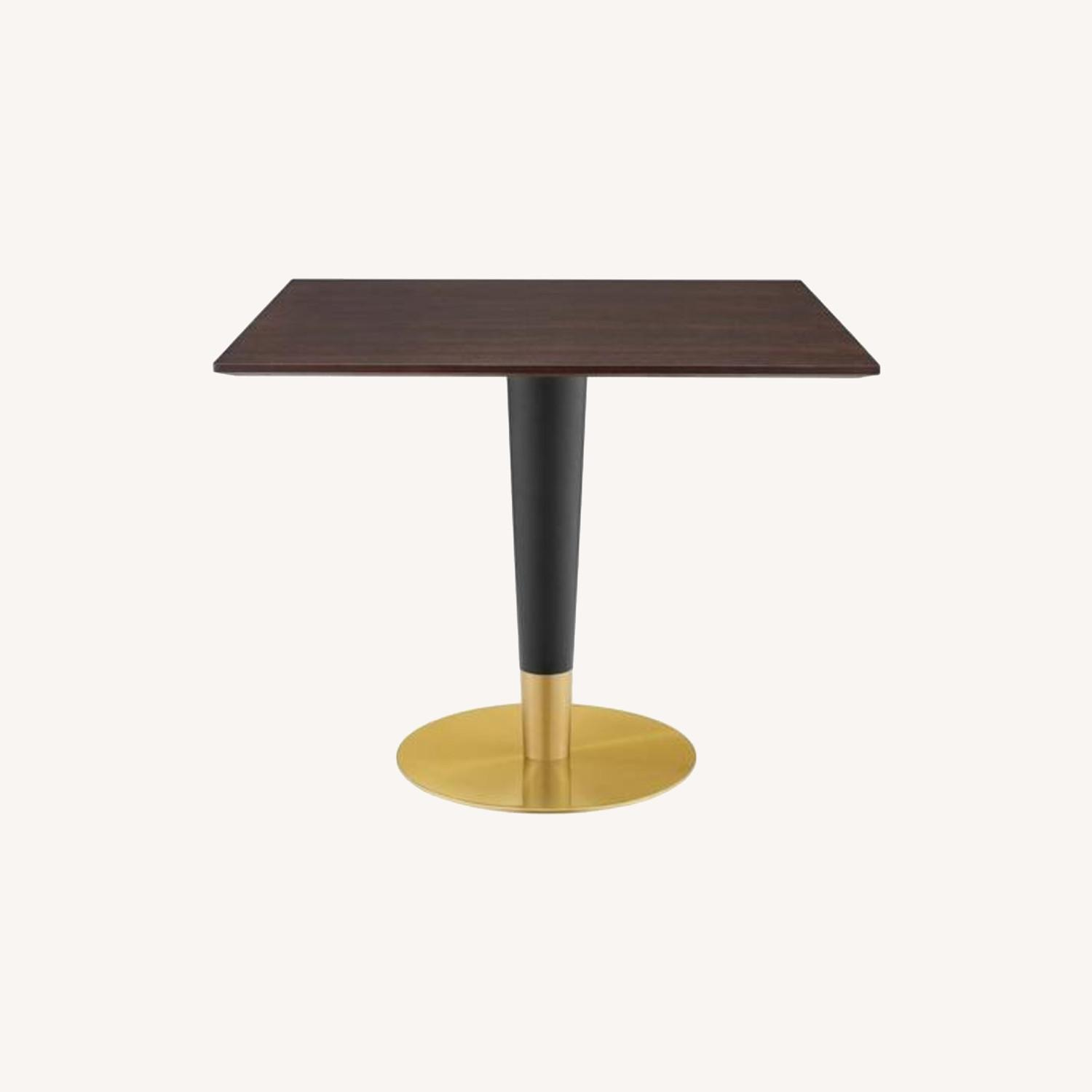 Modern Dining Table In Square Cherry Walnut Top - image-5