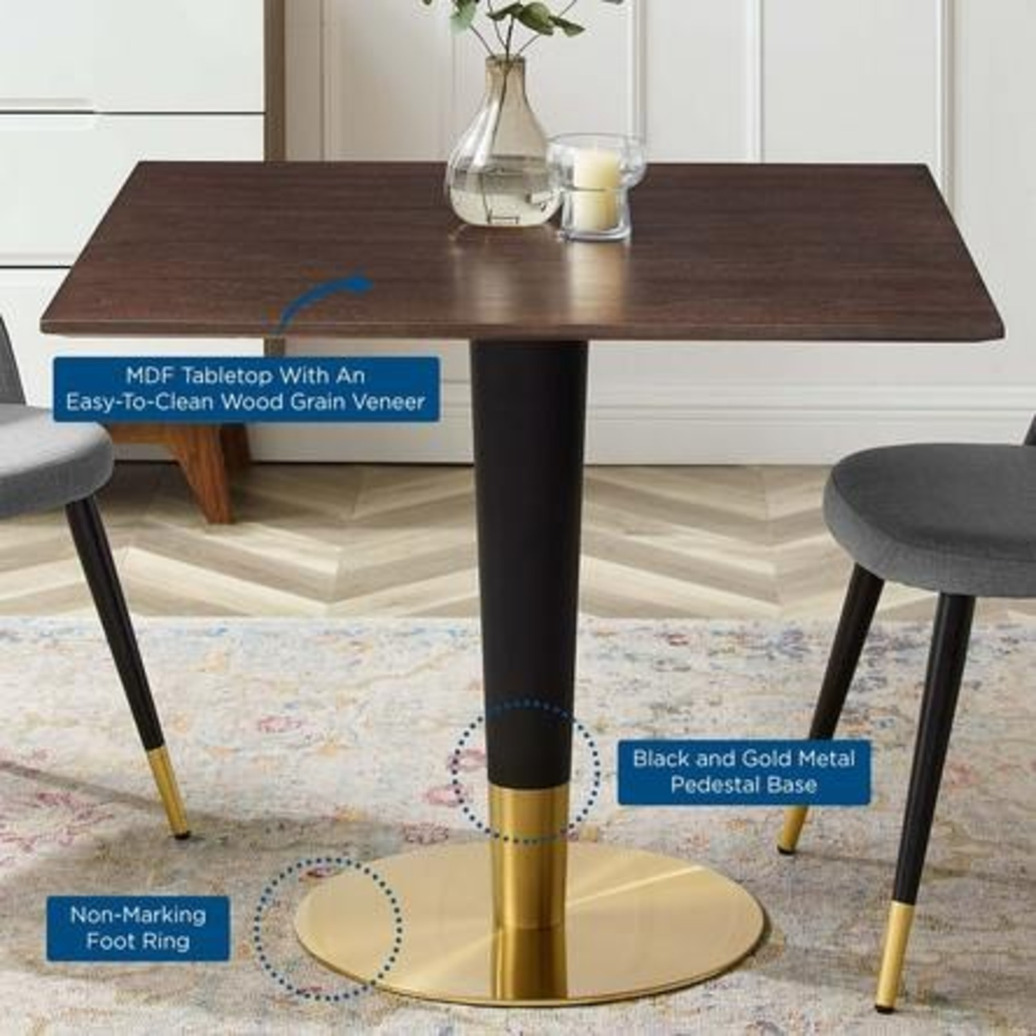 Modern Dining Table In Square Cherry Walnut Top - image-3