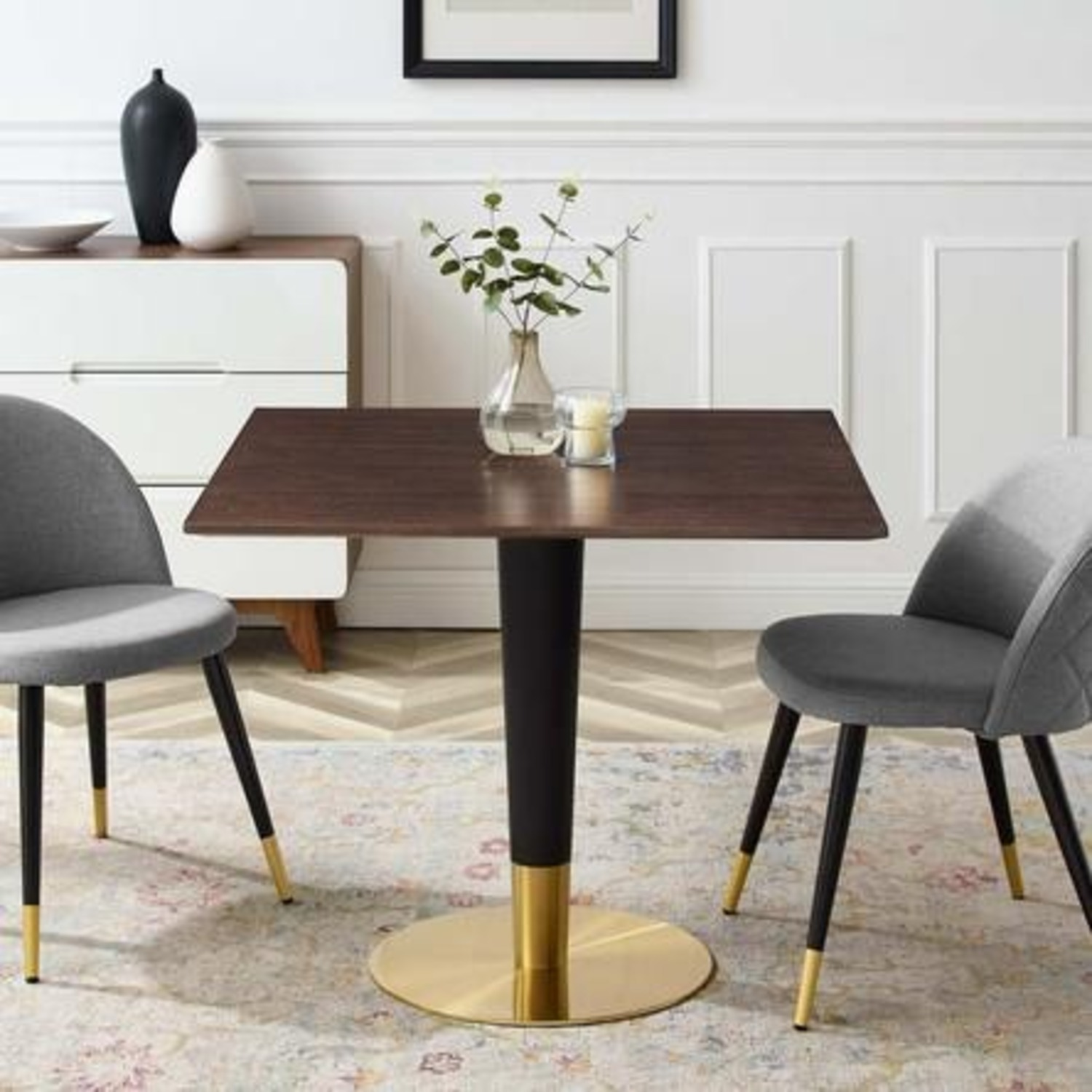 Modern Dining Table In Square Cherry Walnut Top - image-4