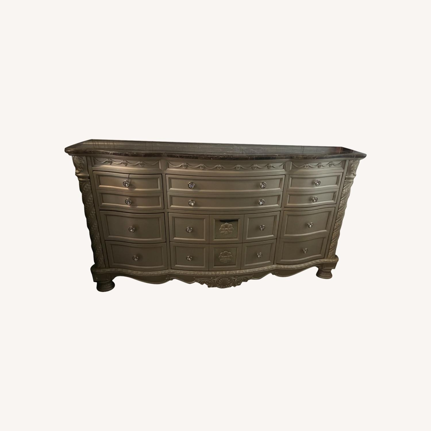 Pearl Silver and Dark Brown Dresser - image-0