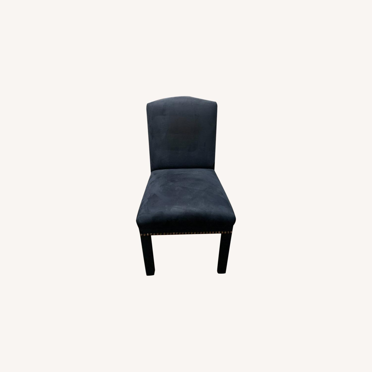 Blue Suede Studded Custom Dining Chair Set - image-0