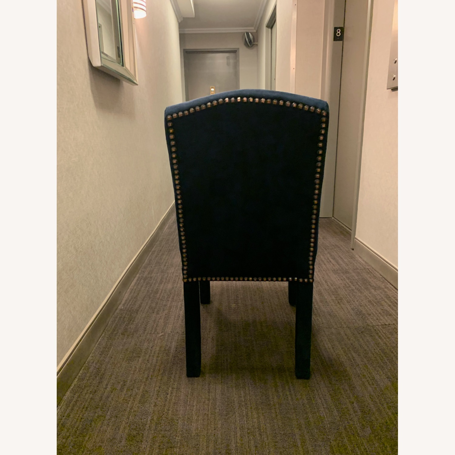 Blue Suede Studded Custom Dining Chair Set - image-4