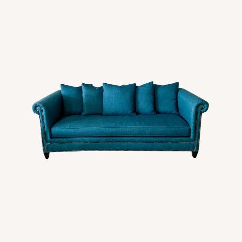 Used Crate and Barrel Blue Nailhead Sofa for sale on AptDeco