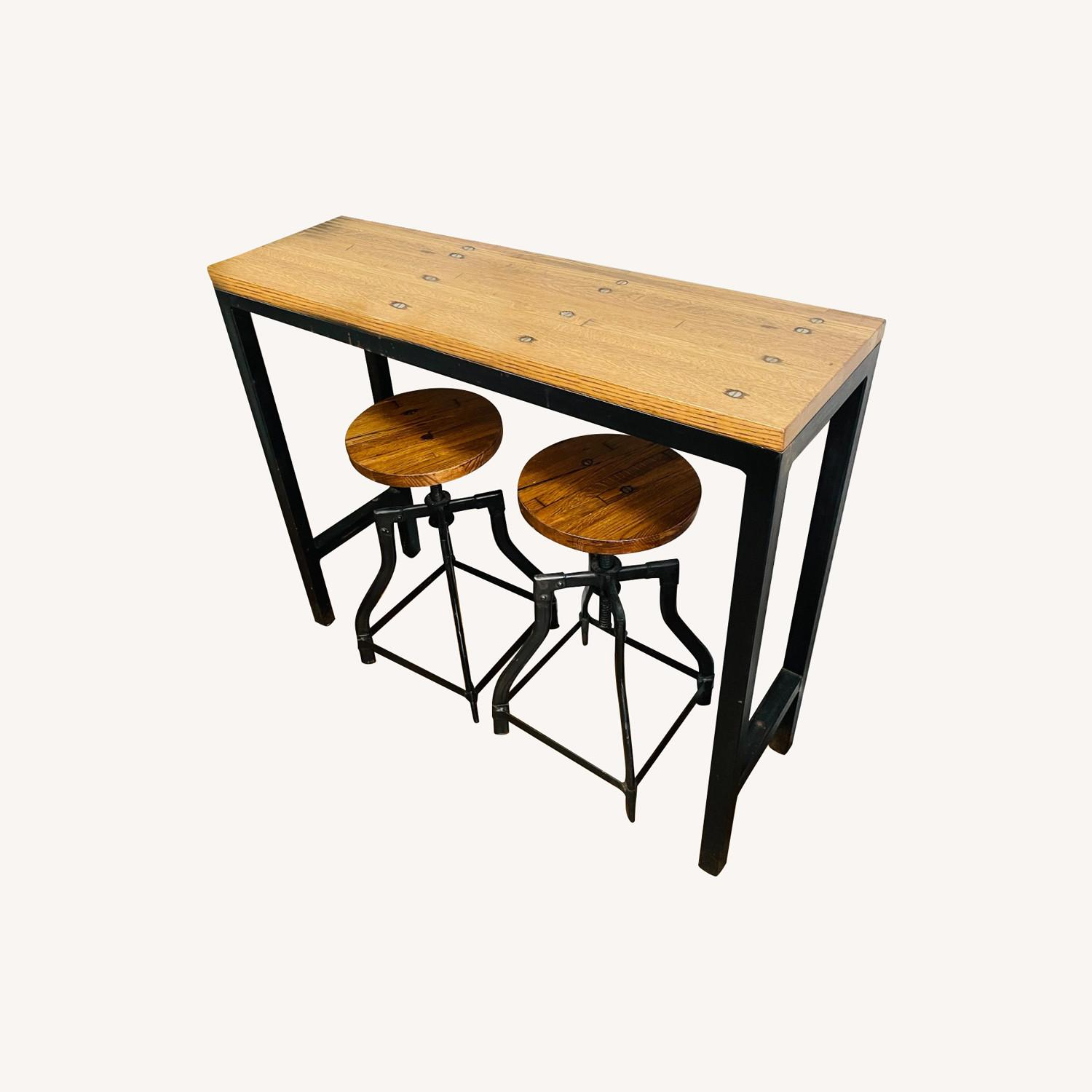 Console Table with Matching Stools - image-0