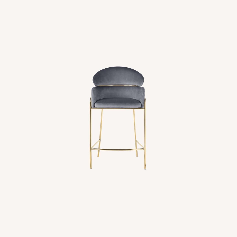 Counter Height Stool In Grey Velvet Upholstery - image-8