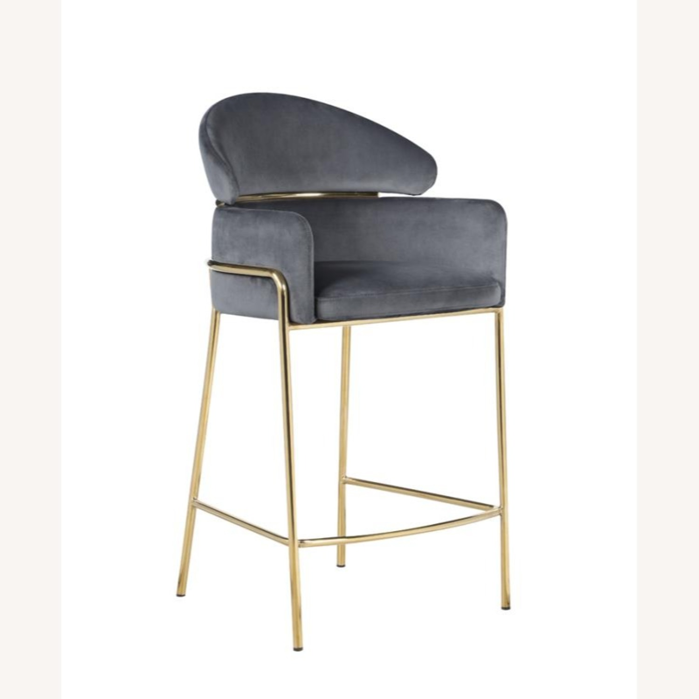 Counter Height Stool In Grey Velvet Upholstery - image-0