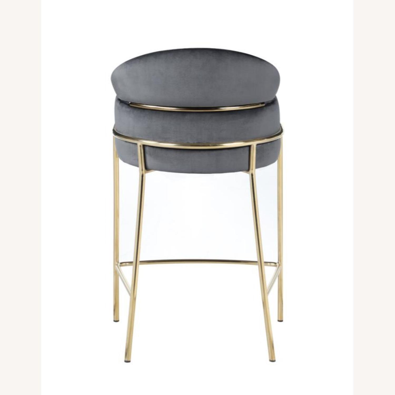 Counter Height Stool In Grey Velvet Upholstery - image-4