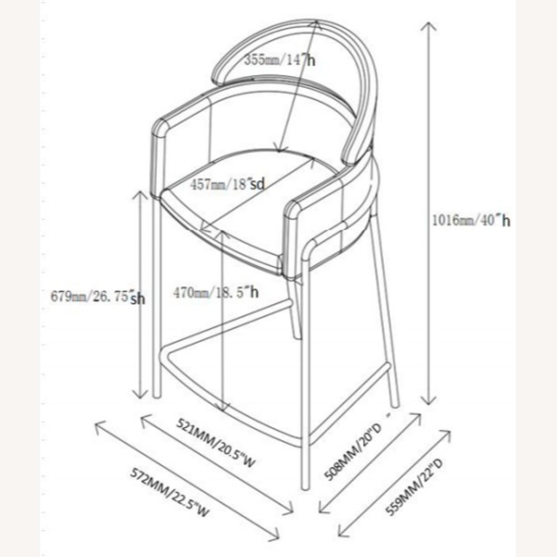 Counter Height Stool In Grey Velvet Upholstery - image-7