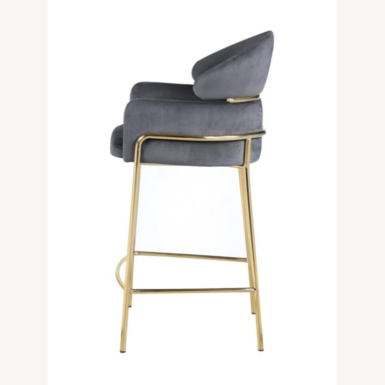 Counter Height Stool In Grey Velvet Upholstery - image-2