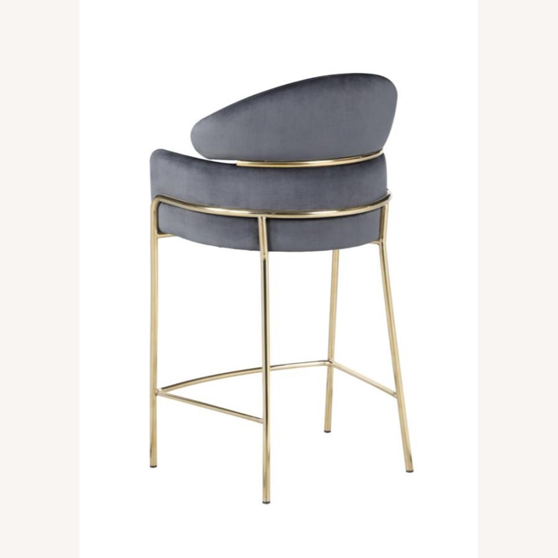 Counter Height Stool In Grey Velvet Upholstery - image-3
