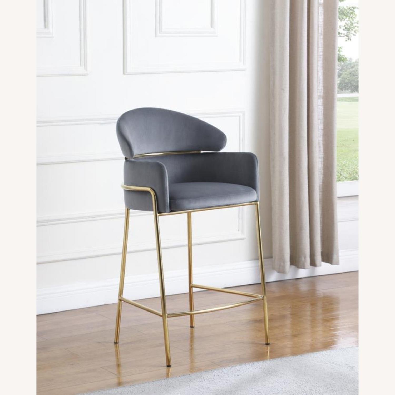 Counter Height Stool In Grey Velvet Upholstery - image-6