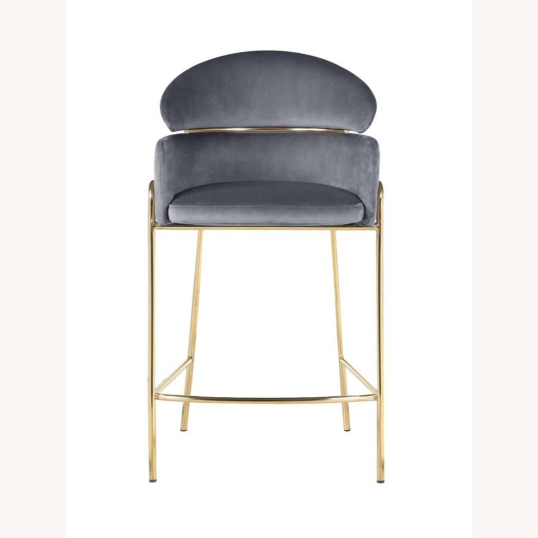 Counter Height Stool In Grey Velvet Upholstery - image-1