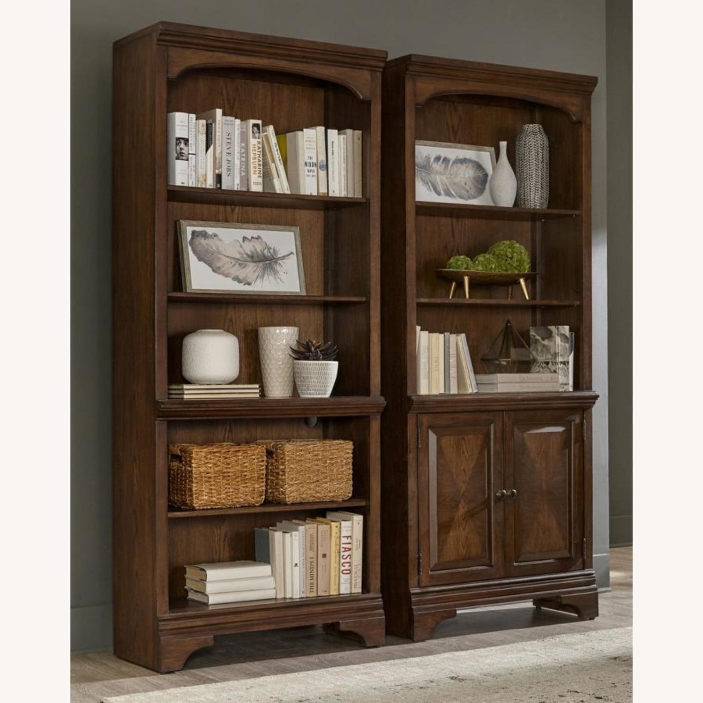 Bookcase In Burnished Oak Finish W/ Cabinet - image-7