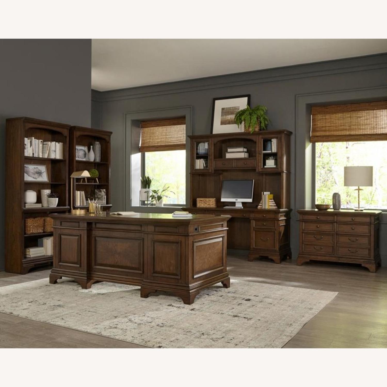 Bookcase In Burnished Oak Finish W/ Cabinet - image-8