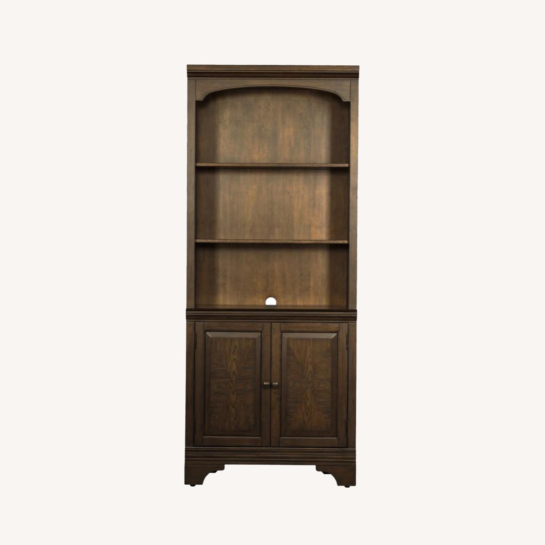 Bookcase In Burnished Oak Finish W/ Cabinet - image-0
