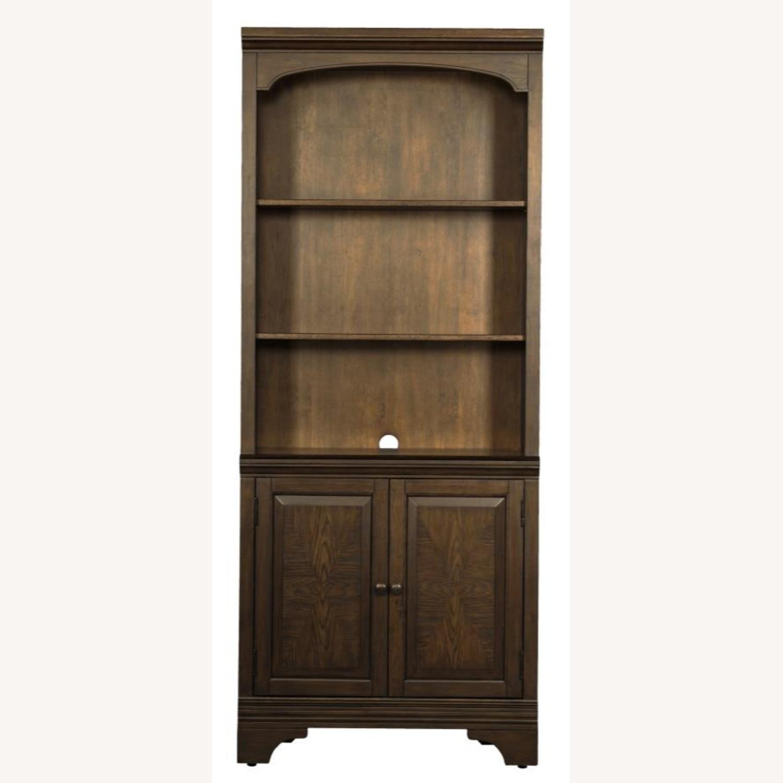 Bookcase In Burnished Oak Finish W/ Cabinet - image-3