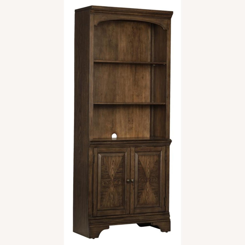 Bookcase In Burnished Oak Finish W/ Cabinet - image-1