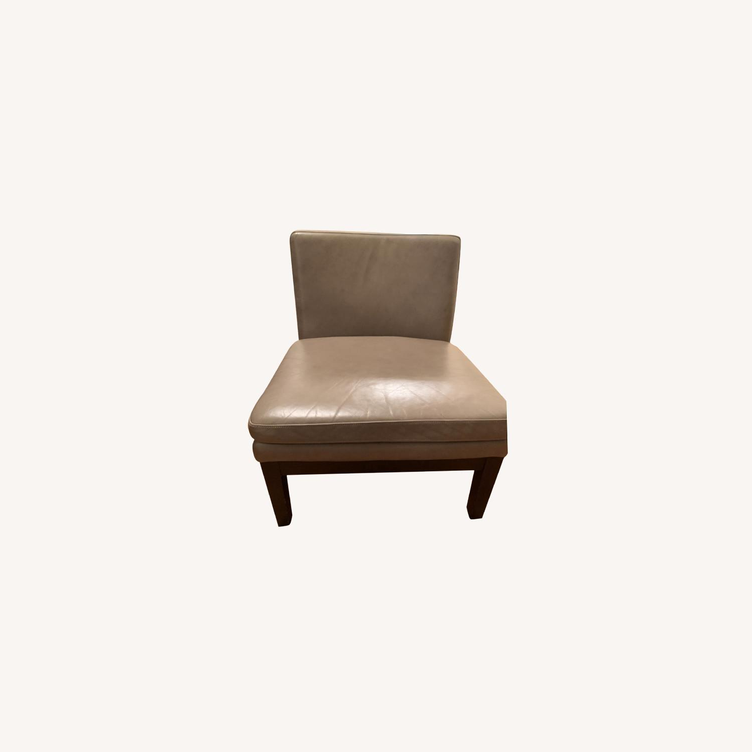 West Elm Grey Leather Accent Chair - image-0